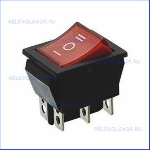 Выключатель клавишный 250В 15А (6с) ON-OFF-ON красный
